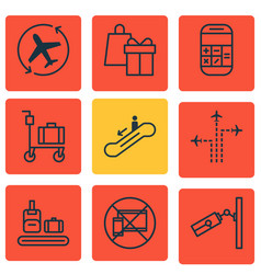 Set of 9 airport icons includes calculation vector