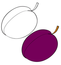 set plum painted with black lines and painted vector image