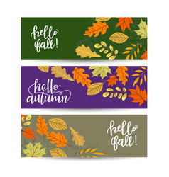 set three banners with red orange brown purple vector image