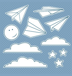 set with isolated paper planes stars moon clouds vector image