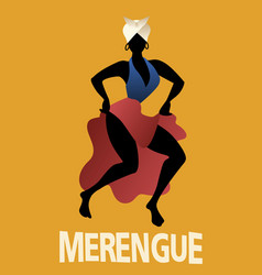 Silhouette of woman dancing latin music merengue vector