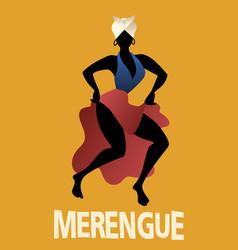 Silhouette woman dancing latin music merengue vector