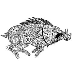 Stylized wild boar razorback warthog hog pig vector image
