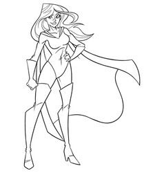 superheroine standing tall line art vector image