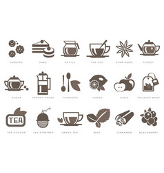 tea time linear icons set cookie cake kettle vector image