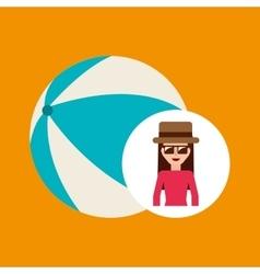 Toursit female hat sunglasses ball plastic vector