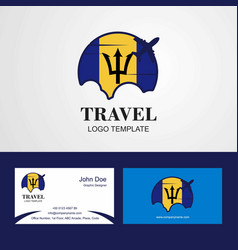 Travel barbados flag logo and visiting card design vector