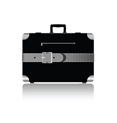 Travel suitcase with silver belts vector