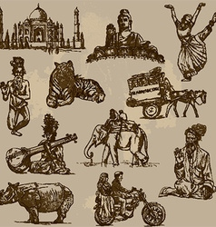 Traveling india - an hand drawn pack vector