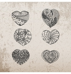 Valentines Day hand drawn Hearts Collection vector image