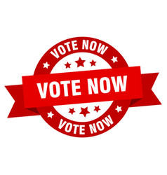 vote now ribbon vote now round red sign vote now vector image