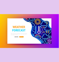 Weather forecast neon landing page vector