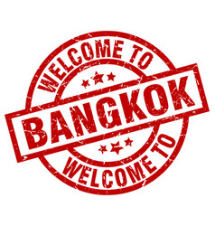 Welcome to bangkok red stamp vector