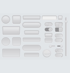 white web interface buttons set 3d icons vector image