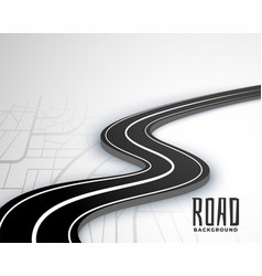 Winding 3d road pathway on map style background vector