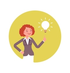 Woman points to a lamp vector