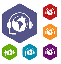 World planet and headset icons set hexagon vector