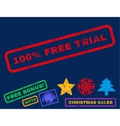 100 Percent Free Trial Rubber Stamp vector image