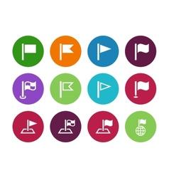 Flag circle icons on white background vector image