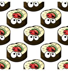 Gourmet sushi seamless pattern vector