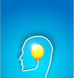 idea concept human face profile with bulb vector image