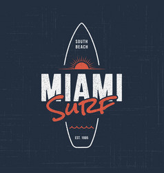 Miami florida surf t-shirt and apparel design vector