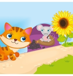 Mouse Hiding From Cat vector image vector image