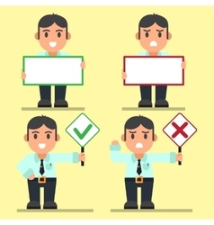 Office workers Right and Wrong Big Text Sign vector image