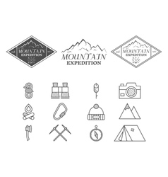 Set of monochrome mountain camp badge logo and vector image vector image