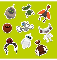 Stickers with robots vector image