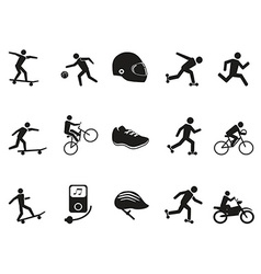 Street sport biking skating skateboarding icons vector
