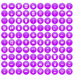 100 cleaning icons set purple vector image vector image