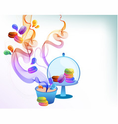 colorful french macaron cookies with drops and vector image