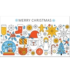 elegant color flat line Christmas and Happy vector image vector image