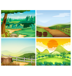 four scenes of countryside vector image vector image