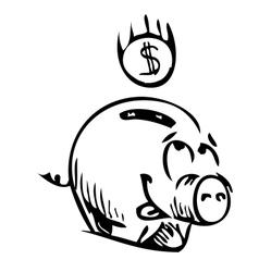 Money cartoon pig money box sketch icon vector image