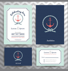 Nautical wedding invitation and RSVP card template vector image vector image