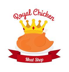 royal chicken label logo hen crown ribbonflat vector image vector image