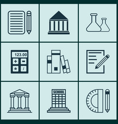 set of 9 school icons includes college library vector image vector image