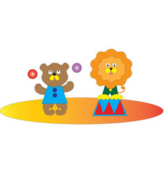 A circus show of a bear and a lion vector