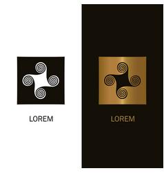 abstract spiral logo design windmill icon concept vector image