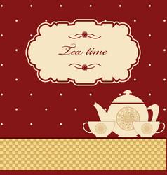 cute polka dot brown tea time background print vector image vector image