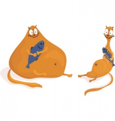 fat and skinny cats vector image