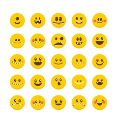 Cartoon faces with emotions Set of cute monsters vector image vector image