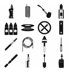 Electronic cigarettes icons set simple style vector image vector image
