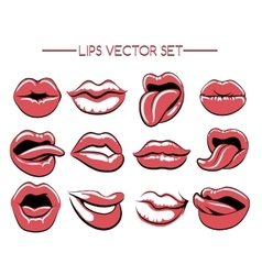 Female lips expression set vector image vector image