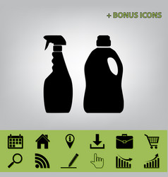 household chemical bottles sign black vector image vector image
