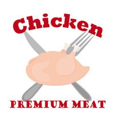 raw chicken label logo hen fork knife flat vector image