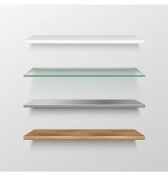 Set of Empty Wood Glass Metal Plastic Shelves vector image