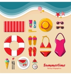 Summertime flat lay infographic vector image vector image